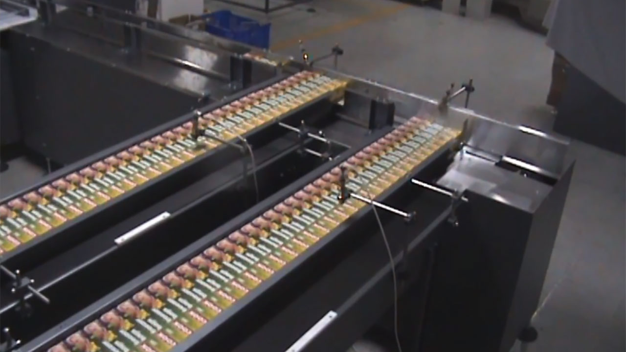 RLS, Agrupamento, embalagem retrátil e rotulagem de caixas de papel alumínio